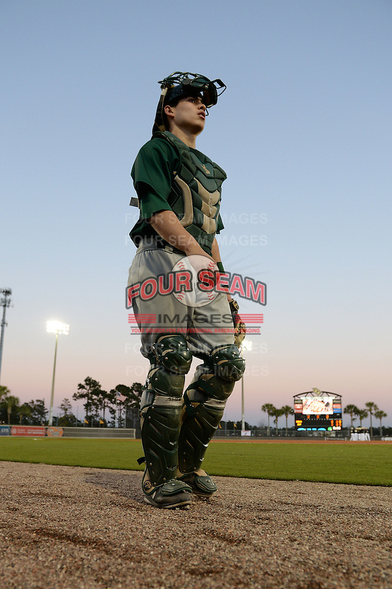 Siena Saints catcher Dan Vasquez (19) before the opening game of the season against the UCF Knights on February 13, 2015 at Jay Bergman Field in Orlando, Florida.  UCF defeated Siena 4-1.  (Mike Janes/Four Seam Images)