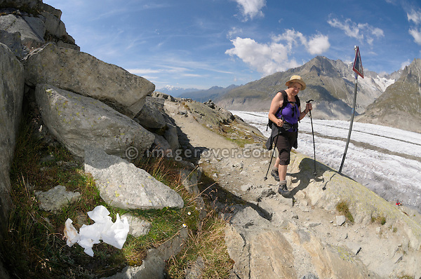 Switzerland, Valais, Western Europe, Jungfrau Region, Aletsch Glacier (UNESCO world heritage site). Used toilet paper carelessly disposed on the panorama trail nr. Märjelensee.  Note: No releases available.