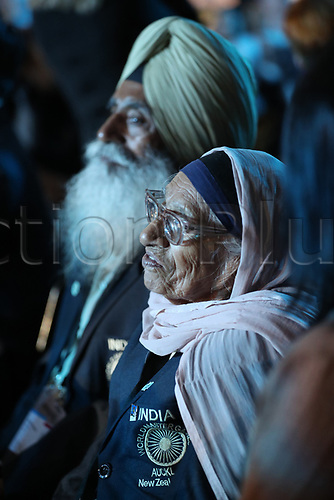 April 30th 2017, Auckland, New Zealand; Closing Ceremony of the World Masters Games; 101 year old Indian athlete Man Kaur during the closing ceremony of the World Masters Games 2017 held at The Cloud on Auckland's waterfront