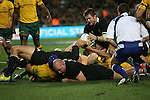 Richie McCaw (R). All Blacks beat Australia 22-0. Eden Park, Auckland. 25 August 2012. Photo: Marc Weakley