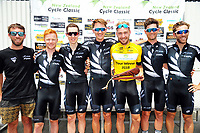 Tour champion Hayden McCormick with team champions NZ. Pictured, from left, are team manager Mark Langlands, Luke Mudgway, Michael Torckler, James Oram, McCormick, Joel Yates and Taylor Gunman. Stage five of the 2018 NZ Cycle Classic UCI Oceania Tour (Masterton criterium) in Masterton, New Zealand on Friday, 21 January 2018. Photo: Dave Lintott / lintottphoto.co.nz