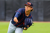 Bowling Green Hot Rods pitcher Mikey York (7) warms up in the outfield prior to a Midwest League game against the Wisconsin Timber Rattlers on July 22, 2018 at Fox Cities Stadium in Appleton, Wisconsin. Bowling Green defeated Wisconsin 10-5. (Brad Krause/Four Seam Images)