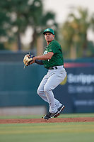Daytona Tortugas shortstop Yonathan Mendoza (7) throws to first base during a Florida State League game against the Palm Beach Cardinals on April 11, 2019 at Roger Dean Stadium in Jupiter, Florida.  Palm Beach defeated Daytona 6-0.  (Mike Janes/Four Seam Images)