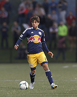 New York Red Bulls midfielder Juninho (8) looks to pass. 2013 Lamar Hunt U.S Open Cup fourth round, New England Revolution (white) defeated New York Red Bulls (blue/yellow), 4-2, at Harvard University's Soldiers Field Soccer Stadium on June 12, 2013.