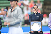 12th January 2018,  Kooyong Lawn Tennis Club, Kooyong, Melbourne, Australia; Priceline Pharmacy Kooyong Classic tennis tournament; Andrea Petkovic of Germany looks on as Belinda Bencic of Switzerland is presented with her winners trophy after the Women's final of the Kooyong Classic