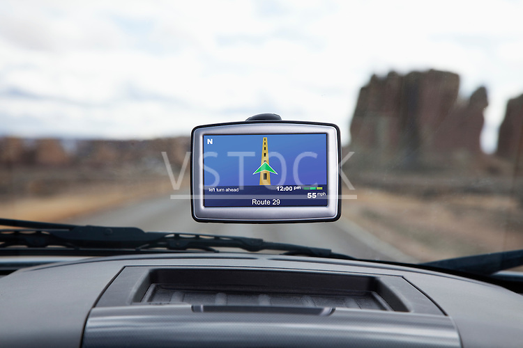 USA, New Mexico, automotive navigation system in car