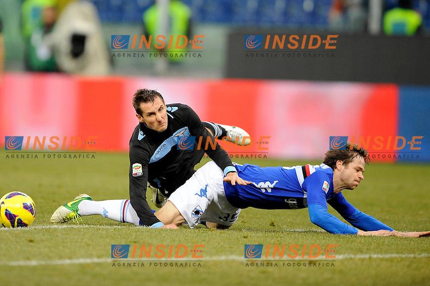 Miroslav Klose Lazio, Jonathan Rossini Sampdoria .Genova 22/12/2012 Stadio Luigi Ferraris.Football Calcio 2012/2013 Serie A.Sampdoria Vs Lazio 0-1.foto Insidefoto