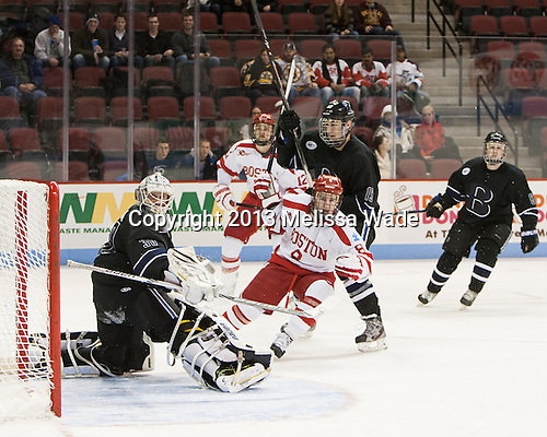 Branden Komm (Bentley - 30), Brendan Collier (BU - 8), Zach Marginsky (Bentley - 19) - The visiting Bentley University Falcons defeated the Boston University Terriers 4-1 (EN) on Saturday, December 14, 2013, at Agganis Arena in Boston, Massachusetts.