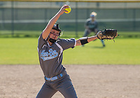 NWA Democrat-Gazette/BEN GOFF @NWABENGOFF<br /> Cearra McPherson pitches for Springdale Har-Ber Thursday, April 12, 2018, during the game against Rogers at Veterans Park in Rogers.