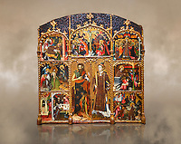 Gothic altarpiece of Saint Esteve (Stephen) & John the Baptist by Mestre de Bardalona, early 15th century, tempera and gold leaf on for wood from Santa Maria de Badalona.  National Museum of Catalan Art, Barcelona, Spain, inv no: MNAC   15824.