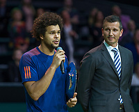 ABN AMRO World Tennis Tournament, Rotterdam, The Netherlands, 19 Februari, 2017, Jo-Wilfried Tsonga (FRA) thanks the crowd, right Tournament director Richard Krajicek <br /> Photo: Henk Koster