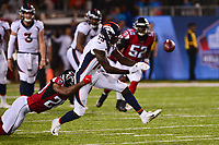 Canton, Ohio - August 1, 2019: Denver Broncos wide receiver Steven Dunbar #13 misses a catch as Atlanta Falcons defensive back Kendall Sheffield #20 attempts a tackle during pre-season game at the Tom Benson Hall of Fame stadium in Canton, Ohio August 1, 2019. This game marks start of the 100th season of the NFL. (Photo by Don Baxter/Media Images International)