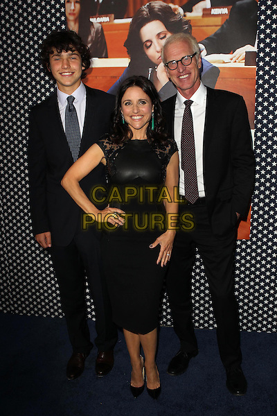 Charles Hall, Julia Louis-Dreyfus, Brad Hall.Los Angeles Premiere for the second season of HBO's series VEEP Held At Paramount Studios, Los Angeles, California, USA.  .April 9th, 2013.full length black  leather suit white shirt maroon tie glasses married husband wife dress son father dad mother mom mum family hand on hip.CAP/ADM/KB.©Kevan Brooks/AdMedia/Capital Pictures.