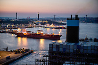 A view of the port at Gothenburg as the Mary Maersk, the largest container ship in the world, heads on it's way to Bremerhaven in Germany.