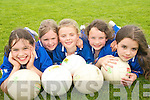 STAR APPEAL:  Young footballers  from Farranfore and Firies  enjoying the Kerry VGAA VHI Cul  Camp in Farranfore on Friday last..L/r. Ellen Brosnan, Rachel Brennan, Emer Riordan, Aine Barry and Una Kelliher.   Copyright Kerry's Eye 2008