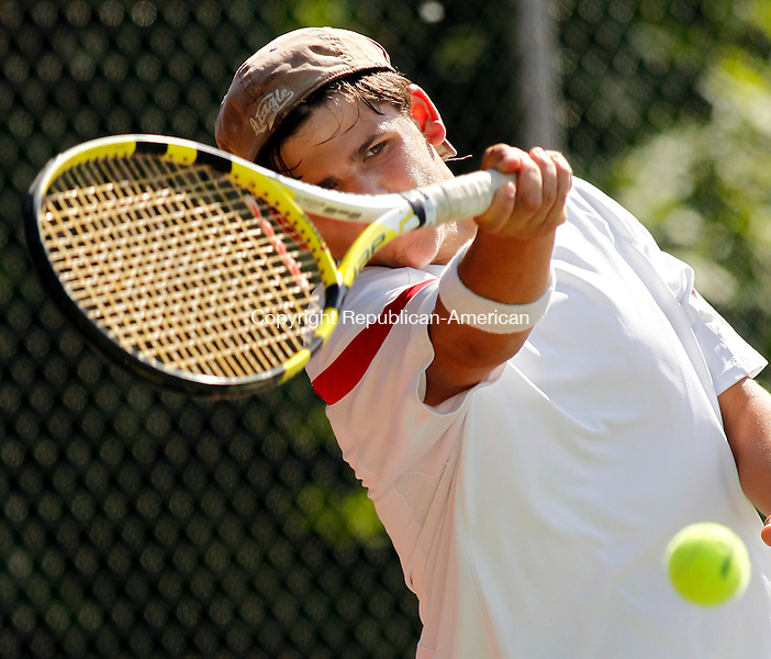Wolcott, CT-28, May 2010-052810CM12 Wolcott's Nick Corangelo hits the ball back, during the Boys NVL Tennis doubles finals at Wolcott HIgh school Friday afternoon.  Corangelo and partner, Greg Parenteau defeated, teammamtes, Eric Dollinger and Nick Pietroniro, 6-4, 1-6, 6-4.  --Christopher Massa Republican-American