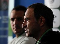 24th May 2014;  Republic of Ireland Manager, Martin O'Neill and captain John O'Shea during a press conference ahead of their 3 International Friendly against Turkey on Sunday. Republic of Ireland Press Conference, Airside Ford, Swords, Co. Dublin. Picture credit: Tommy Grealy/actionshots.ie.