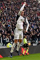 Cristiano Ronaldo of Juventus celebrates after scoring goal <br /> Torino 6-1-2020 Juventus Stadium <br /> Football Serie A 2019/2020 <br /> Juventus FC - Cagliari Calcio <br /> Photo Giuliano Marchisciano / Insidefoto