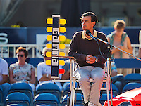 September 03, 2014,Netherlands, Alphen aan den Rijn, TEAN International, Umpire Jeffrey Geurtntjens (NED) with scoreboard<br /> <br /> Photo: Tennisimages/Henk Koster