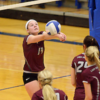 NWA Democrat-Gazette/BEN GOFF @NWABENGOFF<br /> Meg Gray of Siloam Springs makes a dig on Thursday Aug. 27, 2015 during the match at Rogers High.