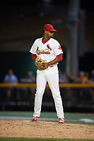 Johnson City Cardinals relief pitcher Juan Alvarez (27) gets ready to deliver a pitch during a game against the Danville Braves on July 28, 2018 at TVA Credit Union Ballpark in Johnson City, Tennessee.  Danville defeated Johnson City 7-4.  (Mike Janes/Four Seam Images)