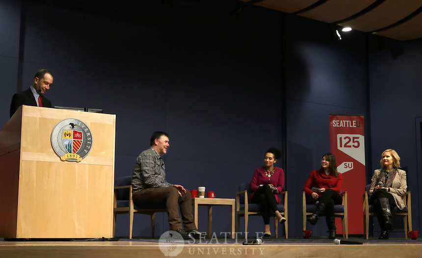 """January 19th 2017 - Jerry Stritzke, the President & CEO of REI speaks about """"Business as an embodiment of Northwest values"""" during the Albers Executive Speaker Series on campus."""