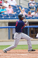 Michael Taylor #3 of the Hagerstown Suns follows through on his swing against the Rome Braves at State Mutual Stadium on May 1, 2011 in Rome, Georgia.   Photo by Brian Westerholt / Four Seam Images