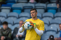 Goalkeeper Benjamin Siegrist (Loanee from Aston Villa) of Wycombe Wanderers during the Sky Bet League 2 match between Portsmouth and Wycombe Wanderers at Fratton Park, Portsmouth, England on 23 April 2016. Photo by Andy Rowland.