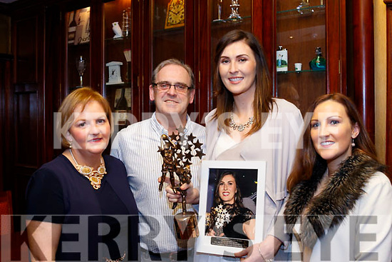 L-R Aileen Lynch, Assistant Secretary, Desmonds Ladies GAA, Pat Sheehan, Chairman, Lorraine Scanlon, Kerry Ladies Team All Star 2017 and Desmonds with Rachael Cronin at a special function for Lorraine, last Saturday night in the RiverIsland hotel, Castleisland.