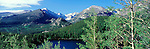 A panoramic view of Longs Peak, Glacier Gorge, and Bear Lake in summer in Rocky Mountain National Park, Colorado.