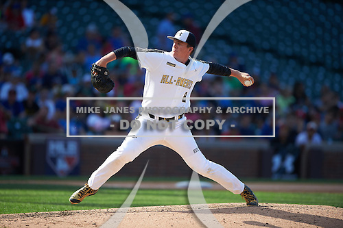 Graeme Stinson (8) of Norcross High School in Norcross, Georgia during the Under Armour All-American Game on August 15, 2015 at Wrigley Field in Chicago, Illinois. (Mike Janes/Four Seam Images)