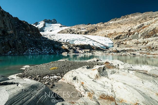 Brewster Glacier with terminal lake under Mount Brewster, Mt. Aspiring National Park, UNESCO World Heritage Area, West Coast, New Zealand, NZ