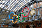 London 2012 Olympic Rings at St Pancras International Station, London, England