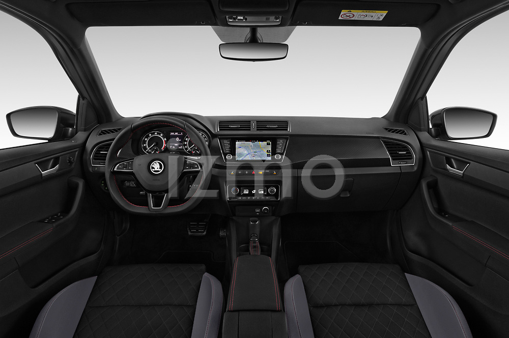 Stock photo of straight dashboard view of a 2019 Skoda Fabia Monte Carlo 5 Door Hatchback