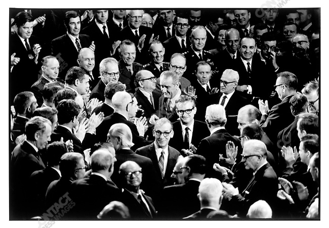 President Lyndon Johnson, Senators, Congressmen & cabinet members after the State of the Union speech. Washington D.C. January 1968