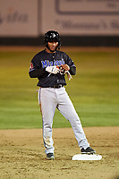Missoula Osprey Cesar Garcia (8) stands on second base after hitting a double during a Pioneer League game against the Great Falls Voyagers at Centene Stadium at Legion Park on August 19, 2019 in Great Falls, Montana. Missoula defeated Great Falls 1-0 in the second game of a doubleheader. (Zachary Lucy/Four Seam Images)