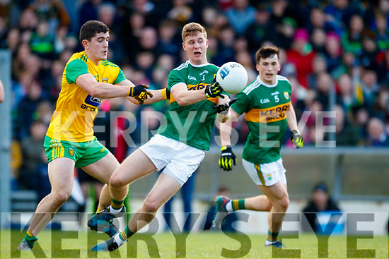Gavin Crowley Kerry in action against Stephen McBrearty Donegal in the Allianz Football League Division 1 Round 1 match between Kerry and Donegal at Fitzgerald Stadium in Killarney, Co. Kerry.
