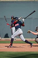 Cleveland Indians infielder Jhan Rodriguez (4) follows through on his swing during a Minor League Spring Training game against the San Francisco Giants at the San Francisco Giants Training Complex on March 14, 2018 in Scottsdale, Arizona. (Zachary Lucy/Four Seam Images)