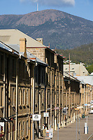 The colonial architecture of Salamanca Place with Mount Wellington in the background.  Hobart, Tasmania, AUSTRALIA