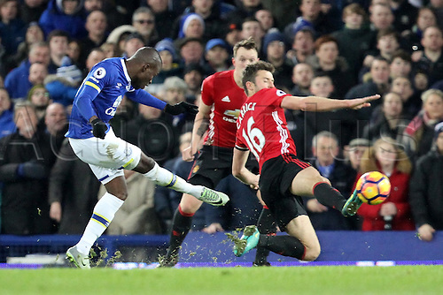 04.12.2016. Goodison Park, Liverpool, England. Premier League Football. Everton versus Manchester United. Enner Valencia of Everton tries to curl a shot as Michael Carrick of Manchester United stretches to block.