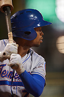 Tennessee Smokies center fielder Wynton Bernard (7) on deck during a game against the Birmingham Barons on August 16, 2018 at Regions FIeld in Birmingham, Alabama.  Tennessee defeated Birmingham 11-1.  (Mike Janes/Four Seam Images)
