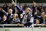 Grimsby Town fans celebrate victory during the Vanamara Conference Play Off Semi Final First Leg match between Eastleigh and Grimsby Town at The Silverlake Stadium, Eastleigh<br /> Picture by David Horn/eXtreme aperture photography +44 7545 970036<br /> 30/04/2015