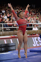 Arkansas' Jessica Yamzon celebrates Friday, Feb. 7, 2020, after competing in the beam portion of the Razorbacks' meet with Georgia in Barnhill Arena in Fayetteville. Visit  nwaonline.com/gymbacks/ for a gallery from the meet.<br /> (NWA Democrat-Gazette/Andy Shupe)