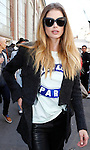 Doutzen Kroes at the entrance of the Fendi fashion show as part of the Milan Fashion Week Men's wear Fall/Winter 2015/2016, in Milan on February 26, 2015.