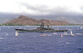 The battleship USS Missouri (BB 63) is towed past Diamond Head en route to Pearl Harbor, Hawaii, on June 21, 1998.  United States Secretary of the Navy John H. Dalton signed the Donation Agreement on May 4th, allowing Missouri to be used as a museum near the Arizona Memorial.  The ship was towed from Bremerton, Washington.                                                                                    Mandatory Credit: Kerry E. Baker / U.S. Navy via CNP