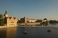 Czeck Republic - Prague, Boat rentals tour the river in front of the Bed?ich Smetana Museum (left).  The buildings along Smetanovo Náb?e?í line the Vltava river through the center of the city.