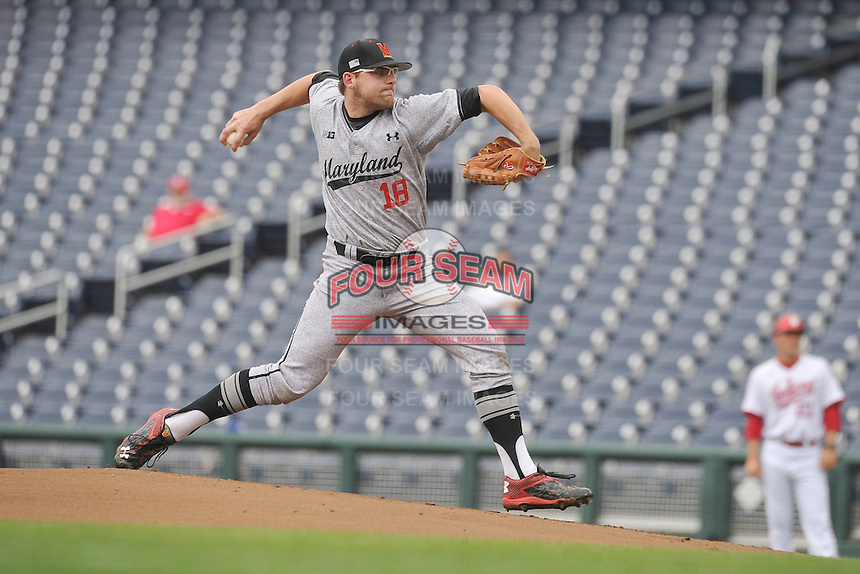 Maryland Terrapins starting pitcher Mike Shawaryn (18) throws during the Big Ten Tournament game against the Indiana Hoosiers at TD Ameritrade Park on May 25, 2016 in Omaha, Nebraska.  Maryland  won 5-3.  (Dennis Hubbard/Four Seam Images)