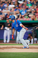 South Bend Cubs shortstop Rafael Narea (2) follows through on a swing during a game against the Kane County Cougars on July 21, 2018 at Northwestern Medicine Field in Geneva, Illinois.  South Bend defeated Kane County 4-2.  (Mike Janes/Four Seam Images)