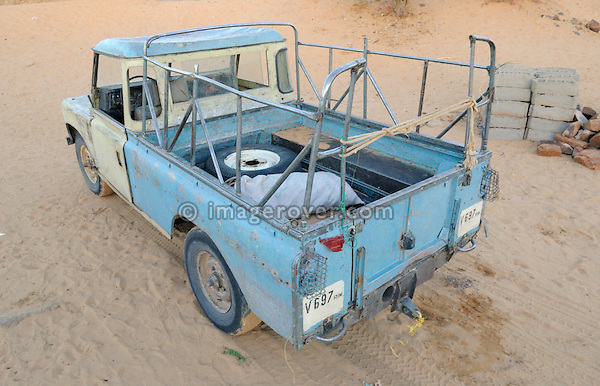 Africa, Mauritania, Sahara Desert, Atar. Working old Land Rover Series 3 long wheel base truck cab at Atar. --- No releases available. Automotive trademarks are the property of the trademark holder, authorization may be needed for some uses.