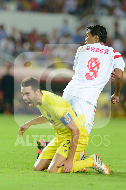 Sevilla's Bacca (R) and Villarreal's Bruno (L) during the match between Sevilla FC and Villarreal day 9 spanish  BBVA League 2014-2015 day 5, played at Sanchez Pizjuan stadium in Seville, Spain. ((PHOTO: CARLOS BOUZA / BOUZA PRESS / ALTER PHOTOS)